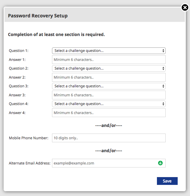 New password reset form requesting challenge questions, mobile phone number for SMS recovery, or alternate e-mail address.