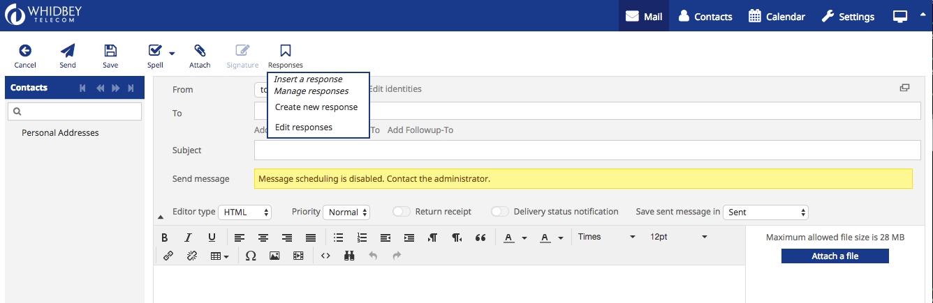 A composition window showing the insert response dropdown menu