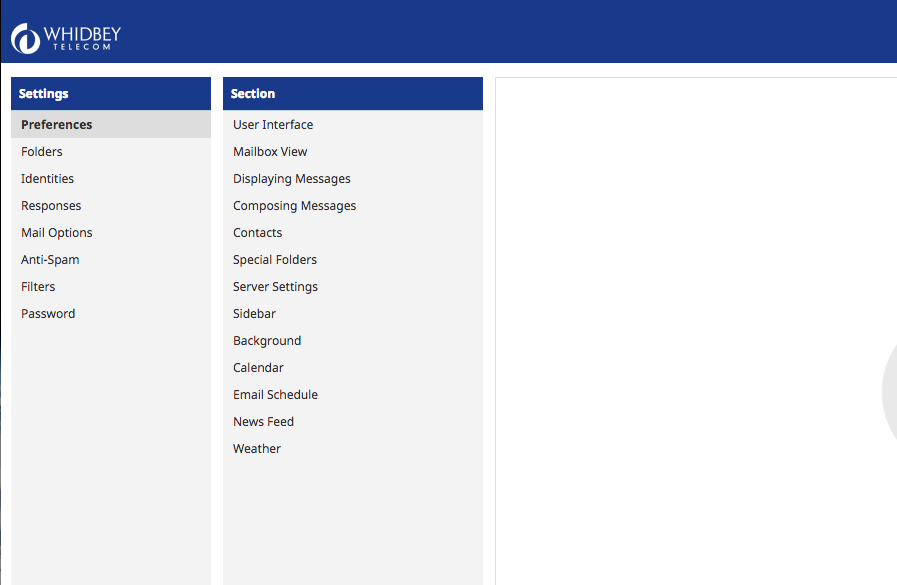 Settings section within the new webmail interface