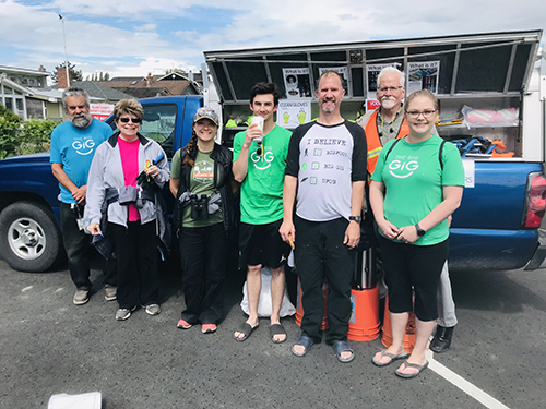 Whidbey Telecom employees at community beach clean-up