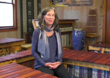 Marimba instructor Dana Moffett in Langley on WhidbeyTV