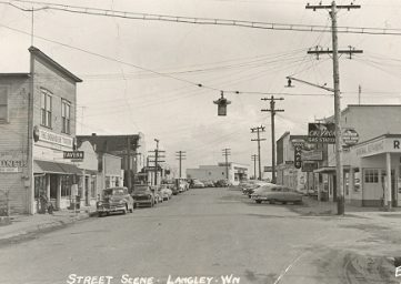 old photograph of street in Langley, Whidbey Island